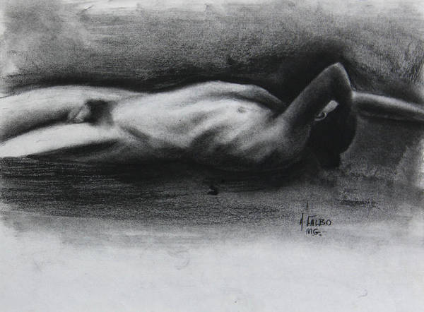 Drawing - Nude Man Lying Down by Anthony Falbo