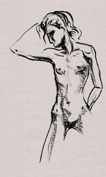 Gorgeous Drawing - Nude Model Gesture Xxi by Irina Sztukowski