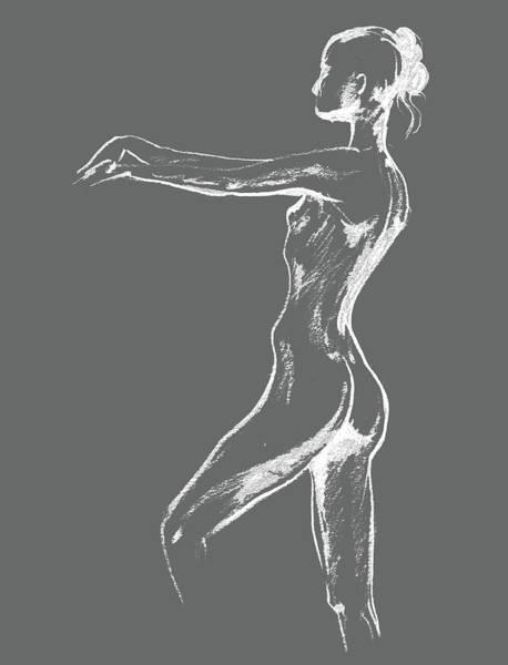 Wall Art - Drawing - Nude Model Gesture Xxix by Irina Sztukowski