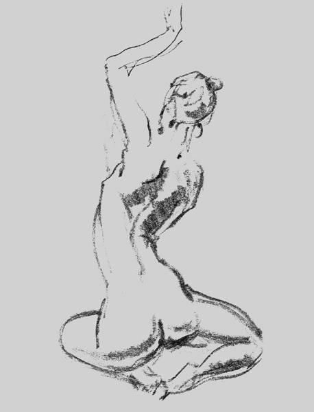 Wall Art - Drawing - Nude Model Gesture Xxvii by Irina Sztukowski
