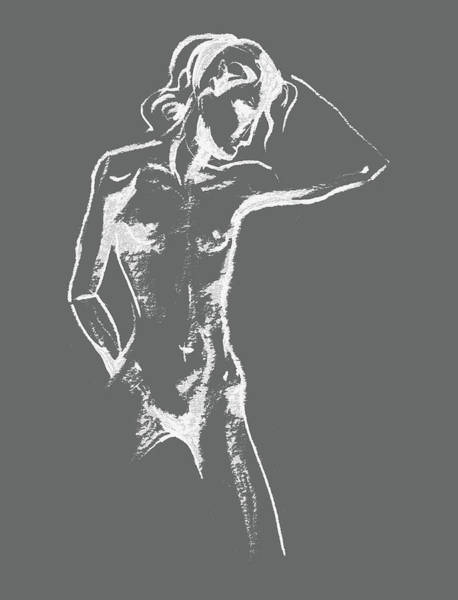 Wall Art - Drawing - Nude Model Gesture Xxx by Irina Sztukowski
