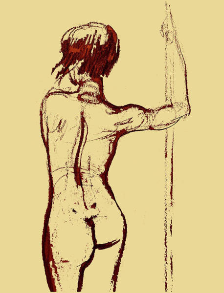 Crayon Drawing - Nude Model Gesture Xxxiv by Irina Sztukowski