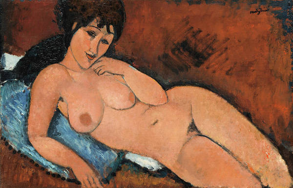 Blue Dress Painting - Nude On A Blue Cushion - Digital Remastered Edition by Amedeo Modigliani