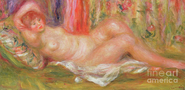 Wall Art - Painting - Nude On Couch by Pierre Auguste Renoir