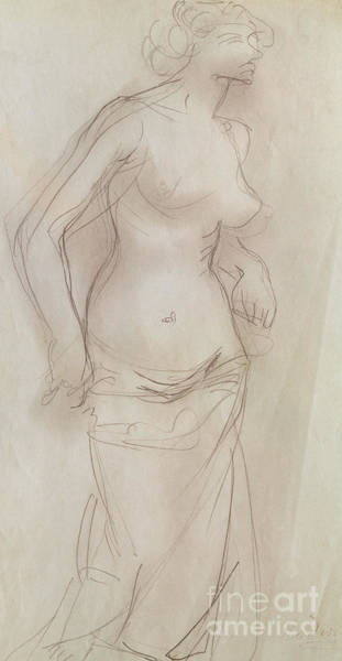 Wall Art - Drawing - Nude  Pencil On Paper by Auguste Rodin