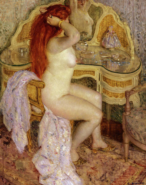 Wall Art - Painting - Nude Seated At Her Dressing Table, 1909 by Frederick Carl Frieseke