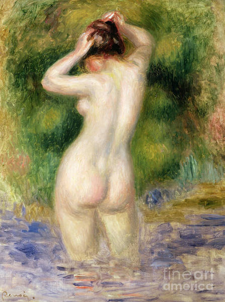Wall Art - Painting - Nude Wading, Circa 1880 by Pierre Auguste Renoir