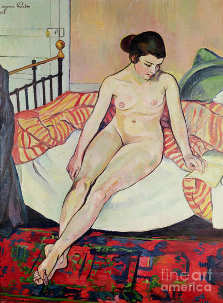 Wall Art - Painting - Nude With A Striped Blanket, 1922  by Marie Clementine Valadon
