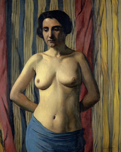 Wall Art - Painting - Nude With Blue Sash, 1922 by Felix Vallotton