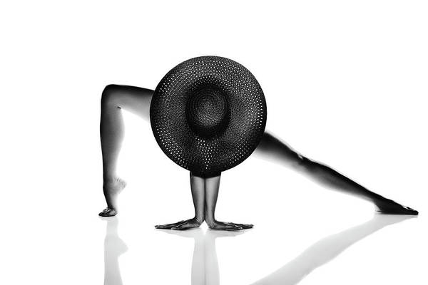 Lady Photograph - Nude Woman Black Hat by Johan Swanepoel