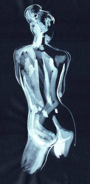 Painting - Nude Woman Model Gesture Watercolor Xxxvii by Irina Sztukowski
