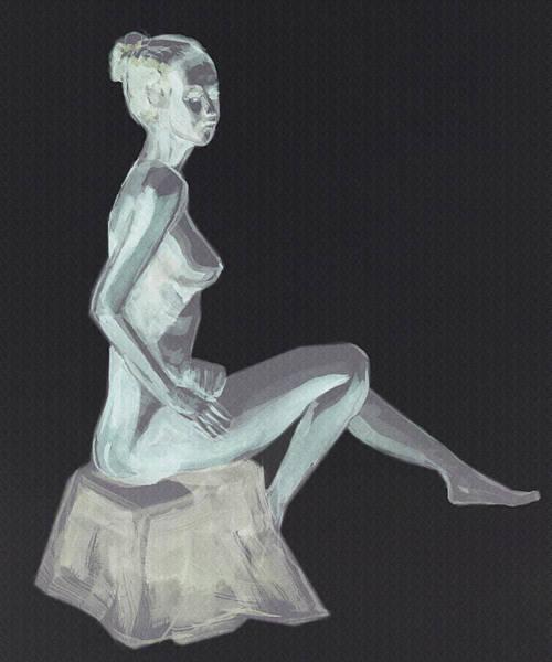 Wall Art - Painting - Nude Woman Sitting Gesture by Irina Sztukowski