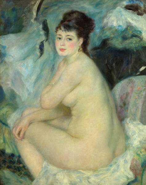 Wall Art - Painting - Nude Woman Sitting On The Couch, 1876 by Pierre-Auguste Renoir