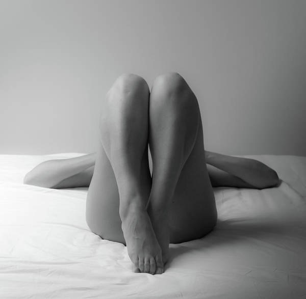 Wall Art - Photograph - Nude Woman Sleeping On Bed by Madia Leva