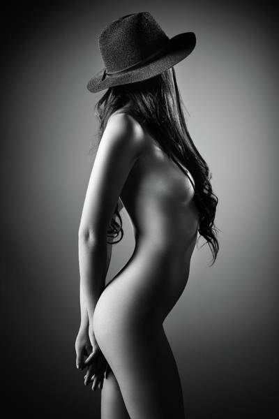 Stomach Wall Art - Photograph - Nude Woman With A Hat by Johan Swanepoel