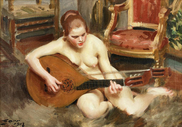 Morning Song Wall Art - Painting - Nude Woman With Guitar by Anders Zorn