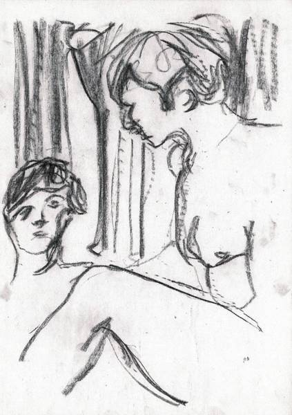 Drawing - Nude Women In The Baths by Artist Dot