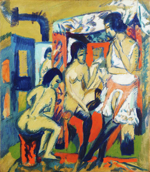 Wall Art - Painting - Nudes In Studio - Digital Remastered Edition by Ernst Ludwig Kirchner