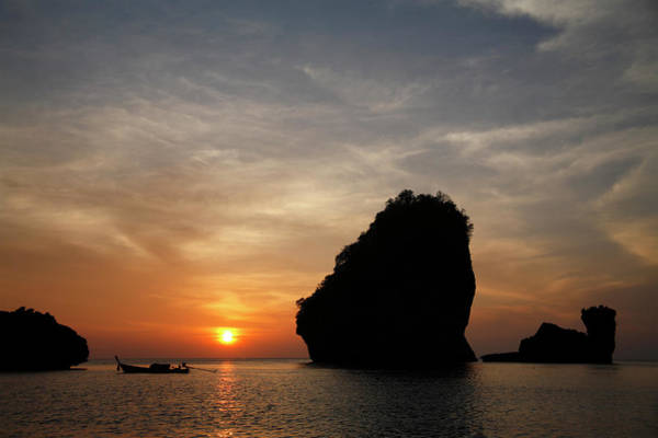 Phi Photograph - Nui Bay At Sunset At Phi Phi Islands by Massimo Pizzotti