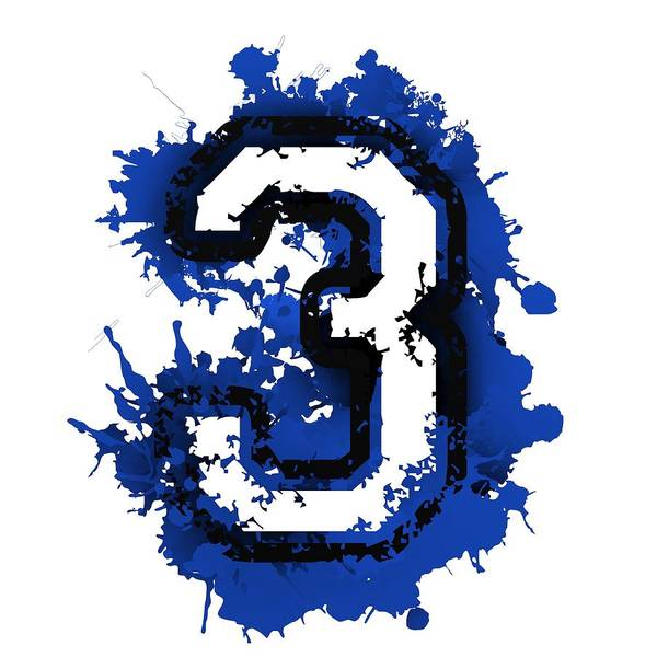 Digital Art - Number Three Over Blue Stain by Alberto RuiZ