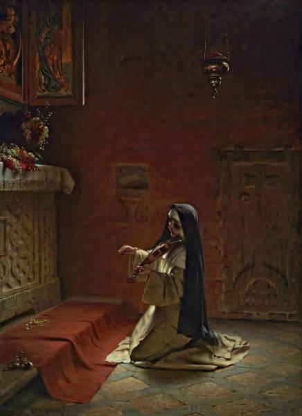 Yule Painting - Nun Playing On A Violin by Friedrich Kaulbach