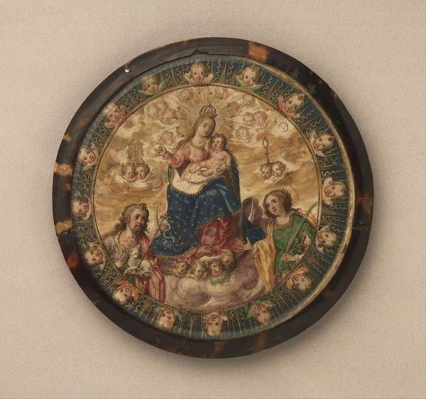 Wall Art - Painting - Nuns Shield Showing The Virgin And Child With Saints Jo  by Andrs Lagarto