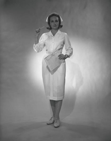 Gesturing Photograph - Nurse Holding Medical Chart Posing In by George Marks