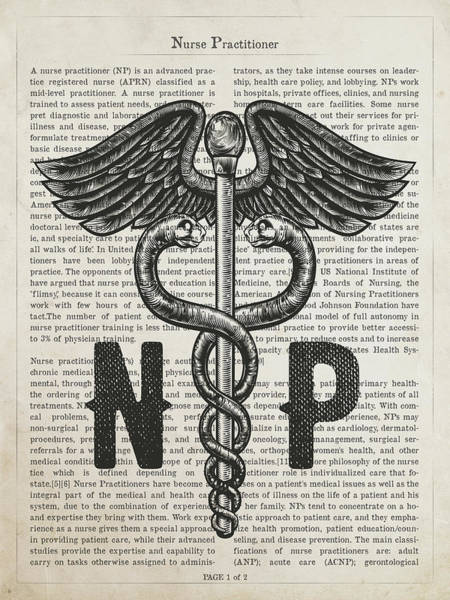 Wall Art - Digital Art - Nurse Practitioner Gift Idea With Caduceus Illustration 01 by Aged Pixel