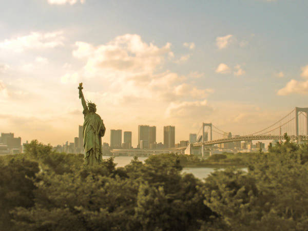 Liberty Bridge Photograph - Ny In Odaiba by Bun Buku