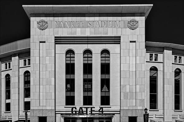 Photograph - Ny Yankee Stadium Gate 4 Bw by Susan Candelario