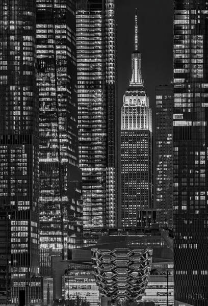 Photograph - Nyc Empire State And Vessel Bw by Susan Candelario