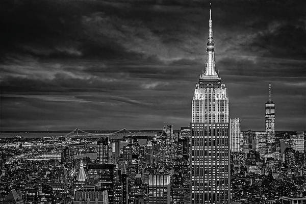 Photograph - Nyc Esb Wtc Golden Hour  Bw by Susan Candelario