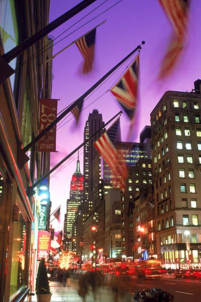 Usa Flag Photograph - Nyc, Fifth Avenue Flags by Rudi Von Briel