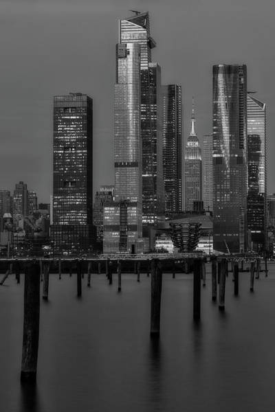Photograph - Nyc Hudson Yards Blues Bw by Susan Candelario