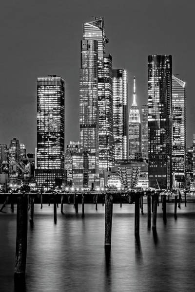 Photograph - Nyc Hudson Yards Skyline Bw by Susan Candelario