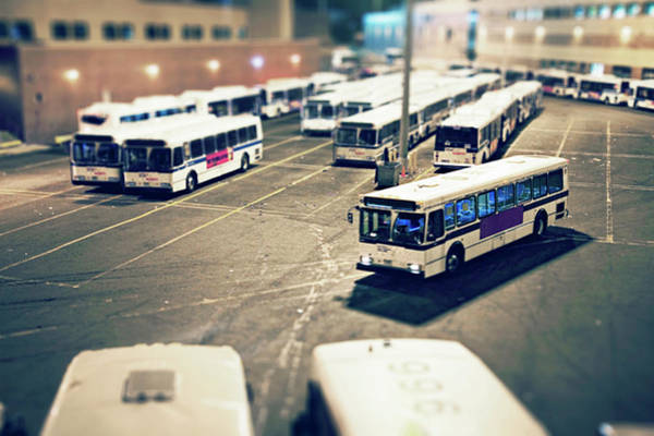 Queen Photograph - Nyc Mta Bus Pulling Into Bus Depot In by Michael Duva