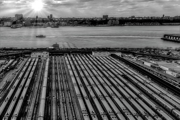 Photograph - Nyc Mta West Side Yard Bw by Susan Candelario
