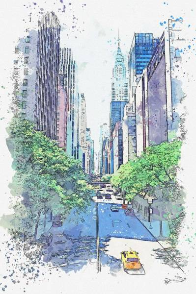 Wall Art - Painting - Nyc, New York, United States Watercolor By Ahmet Asar by Ahmet Asar
