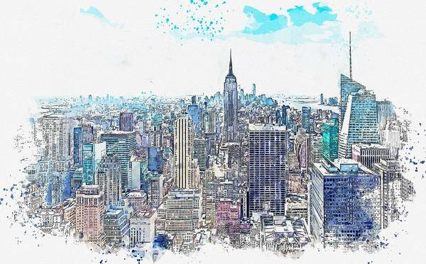 Wall Art - Painting - Nyc, New York Watercolor By Ahmet Asar by Ahmet Asar