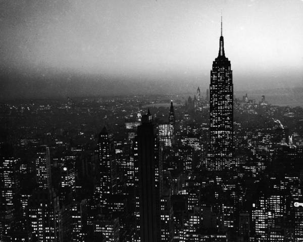 Sky Photograph - Nyc Skyline At Night by Frederic Lewis