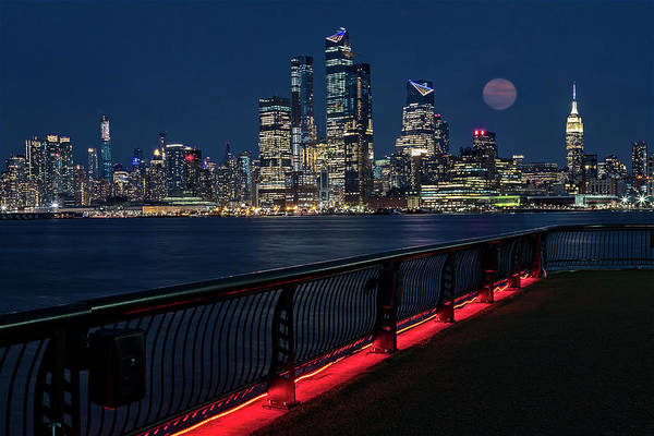 Photograph - Nyc Skyline Super Moon by Susan Candelario
