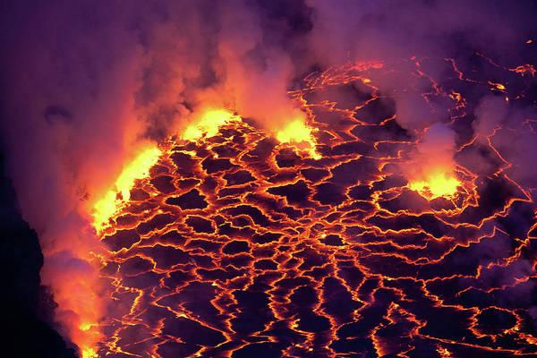 Lava Lakes Photograph - Nyiragongo Volcano Lava Lake by Ryan Goebel