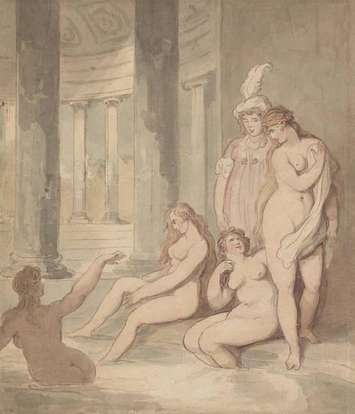 Nymph Drawing - Nymphs At A Roman Bath by Thomas Rowlandson