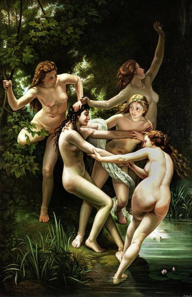 Wall Art - Painting - Nymphs by Unknown 19th century