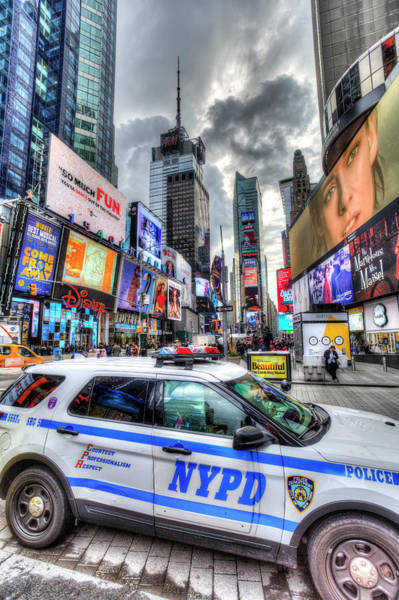 Wall Art - Photograph - Nypd Times Square by David Pyatt