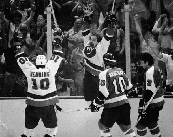 Ice Hockey Photograph - Nystrom Celebrates Winning Goal At by B Bennett