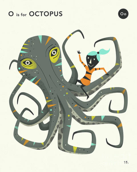Wall Art - Digital Art - O Is For Octopus 2 by Jazzberry Blue