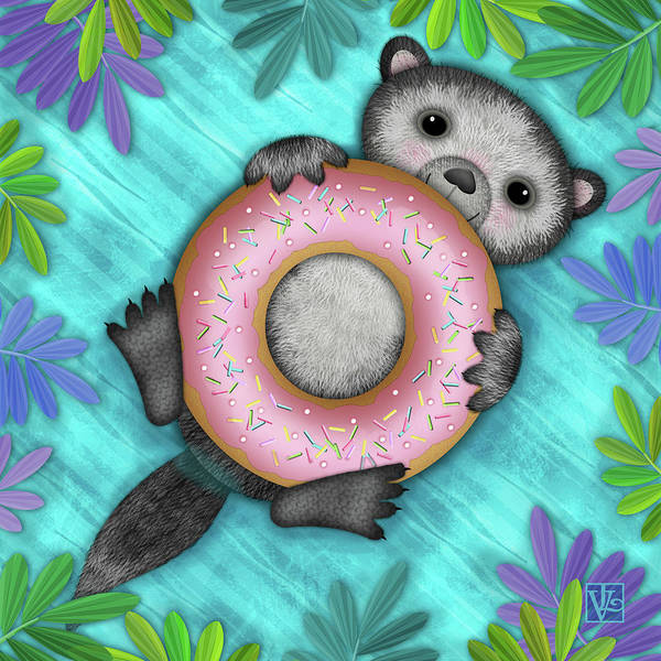 O Is For Otter With An O So Delicious Doughnut Art Print
