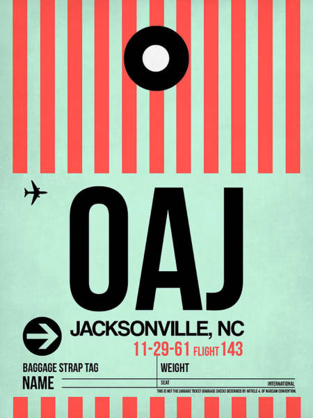 Wall Art - Digital Art - Oaj Jacksonville Luggage Tag I by Naxart Studio