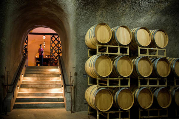 Napa Valley Photograph - Oak Barrels In Wine Cave At Winery Napa by Seanfboggs
